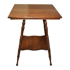 American Classical Wood Bobbin Leg 2-Tier Turned Leg Side Table, 19th Century