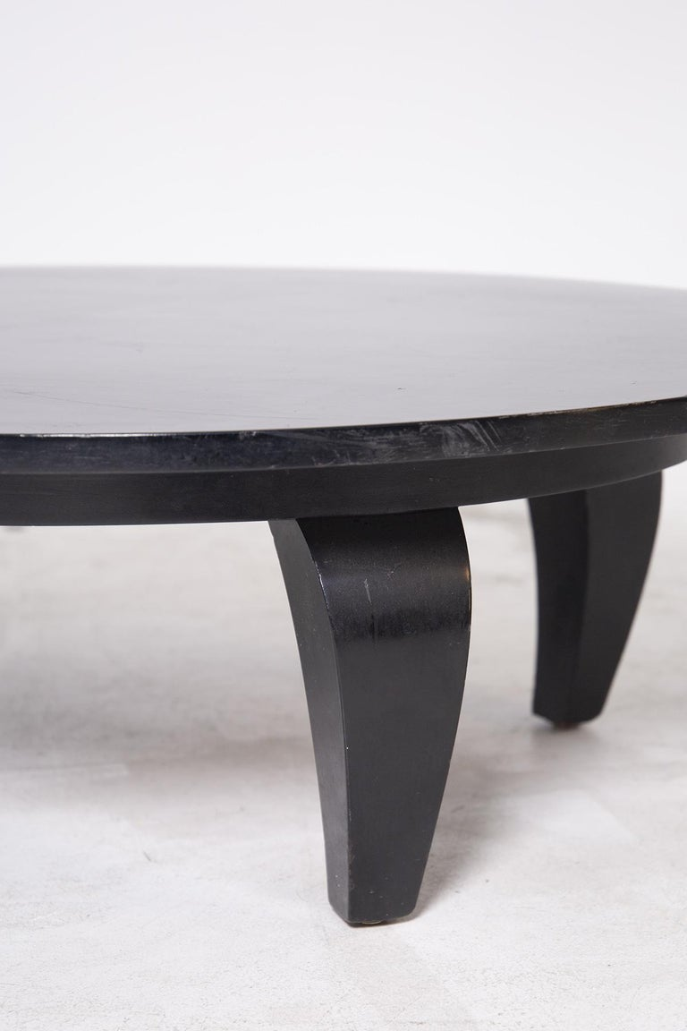 American Classical American Coffee Table in Black Wood, 1950s For Sale