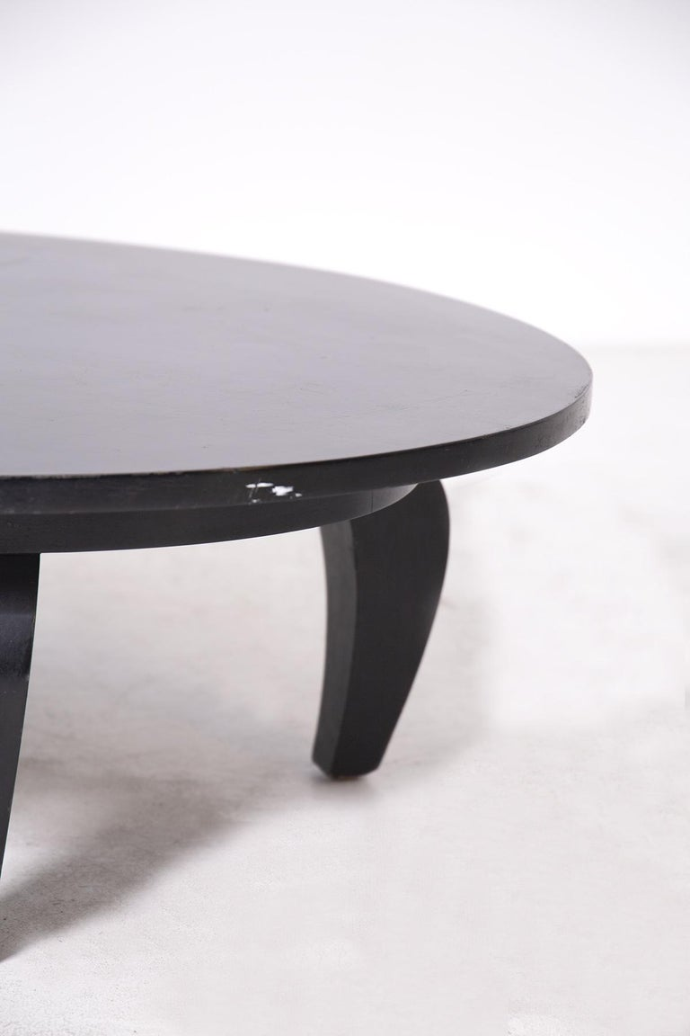 Mid-20th Century American Coffee Table in Black Wood, 1950s For Sale