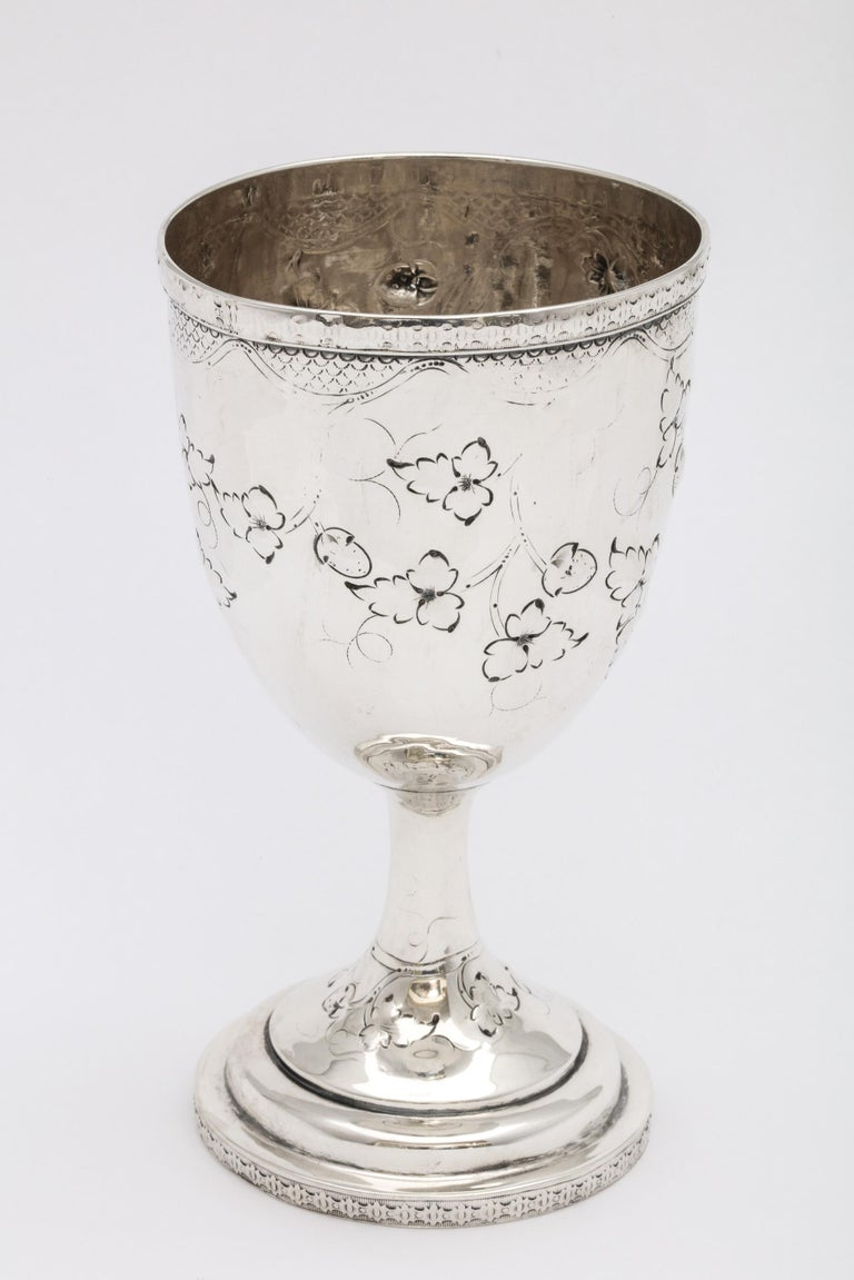 American Coin Silver '.900' Goblet by Peter L. Krider For Sale 1