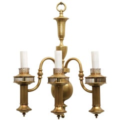 American Colonial Brass Converted Oil Lamp Wall Sconce