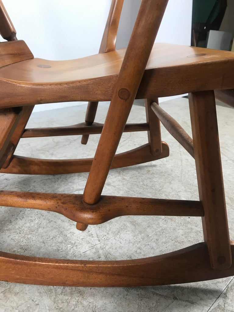 American Colonial modernist solid maple rocker attributed to Sikes Chair co... Superior quality and construction, retains original patina, amazing mortise and Tenon construction, joinery, extremely comfortable. Measure: Arm height 24