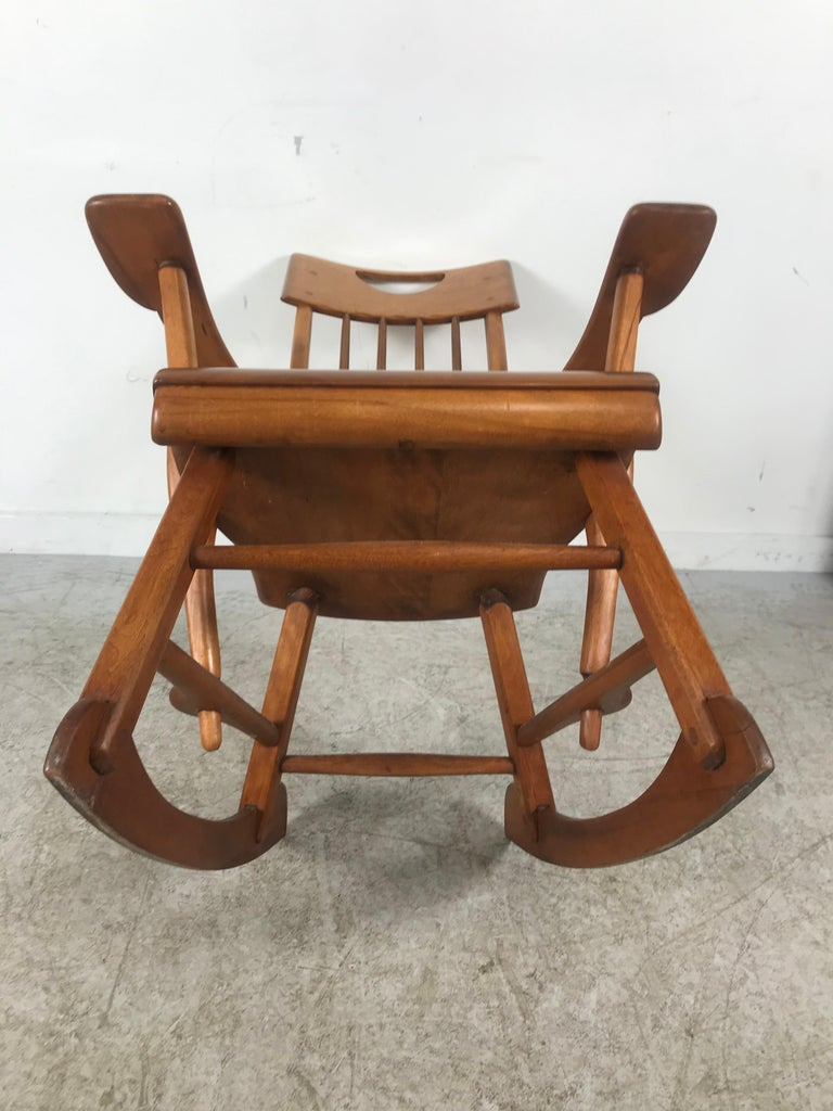 American Colonial Modernist Solid Maple Rocking Chair, Attrib Sikes Chair Co For Sale 2