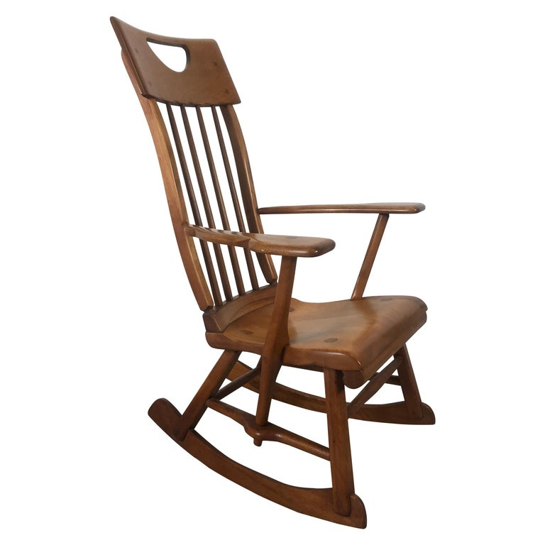 American Colonial Modernist Solid Maple Rocking Chair, Attrib Sikes Chair Co For Sale