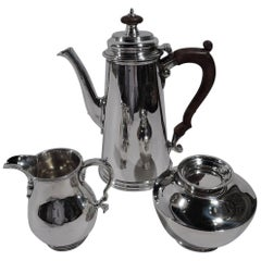 American Colonial Revival 3-Piece Sterling Silver Coffee Set by Georg Jensen USA
