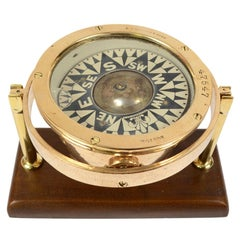 American Compass Early 1900s, Brass on Wooden Base