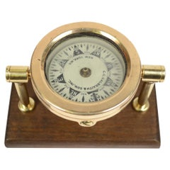 American Compass from the Early 1900s Made of Brass Mounted on a Walnut Board