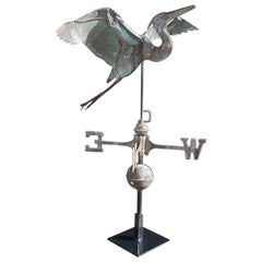 American Copper Egret Zinc Directional Weathervane Mounted on Stand, circa 1870