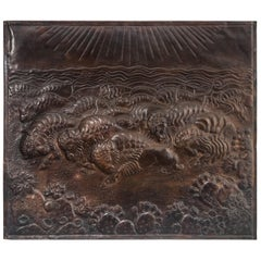 American Copper Low-Relief of a Herd of Bison / Buffalo