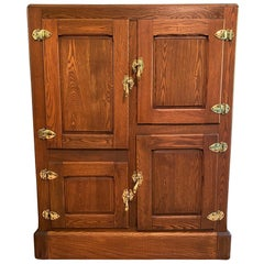 American Country Authentic Turn of the Century DeWitt Oak Ice Box Cabinet