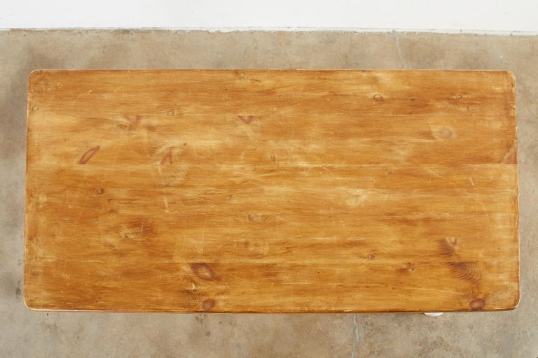 American Country Painted Pine Farmhouse Dining Table For Sale 6