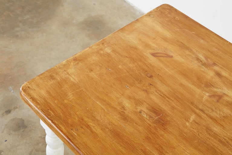 American Country Painted Pine Farmhouse Dining Table For Sale 7