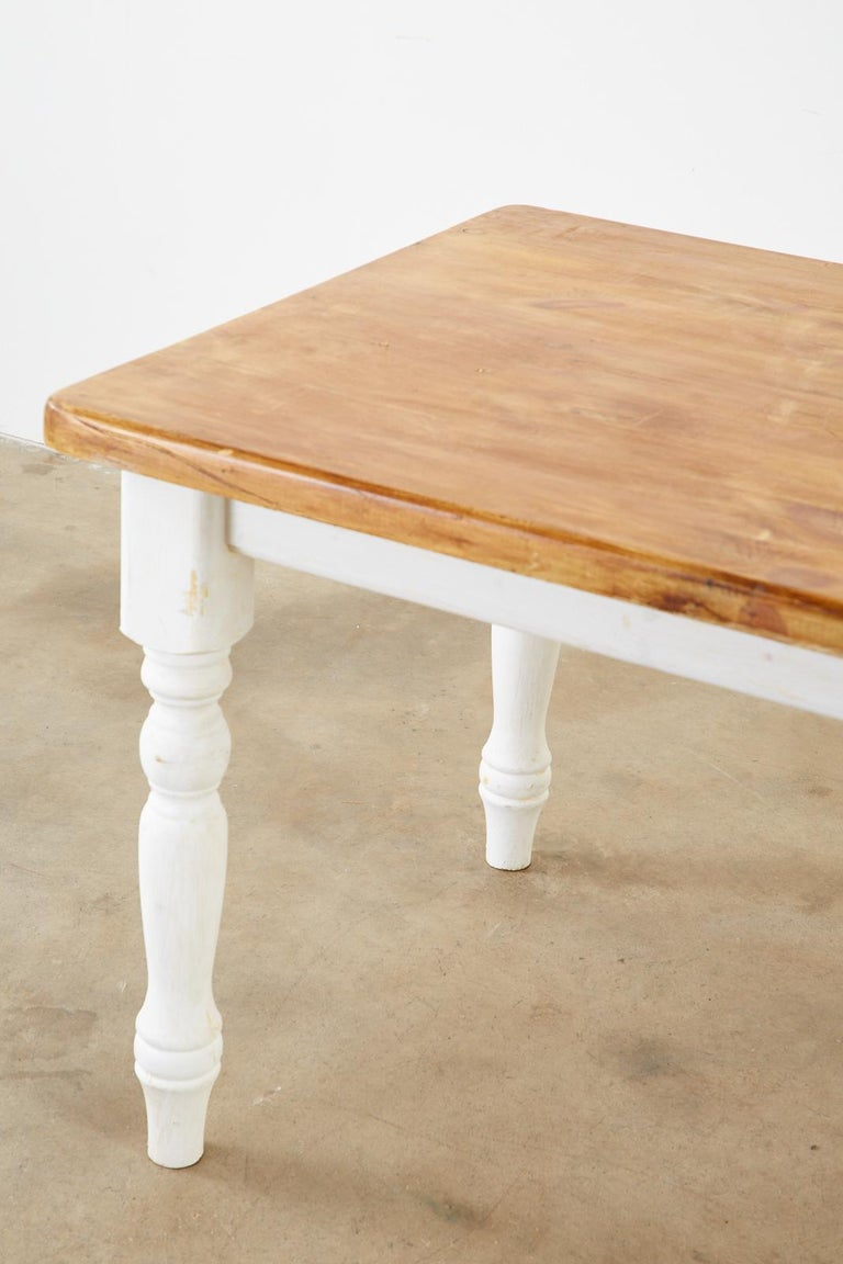 American Country Painted Pine Farmhouse Dining Table For Sale 8