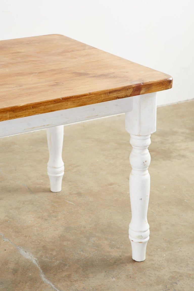 American Country Painted Pine Farmhouse Dining Table For Sale 9