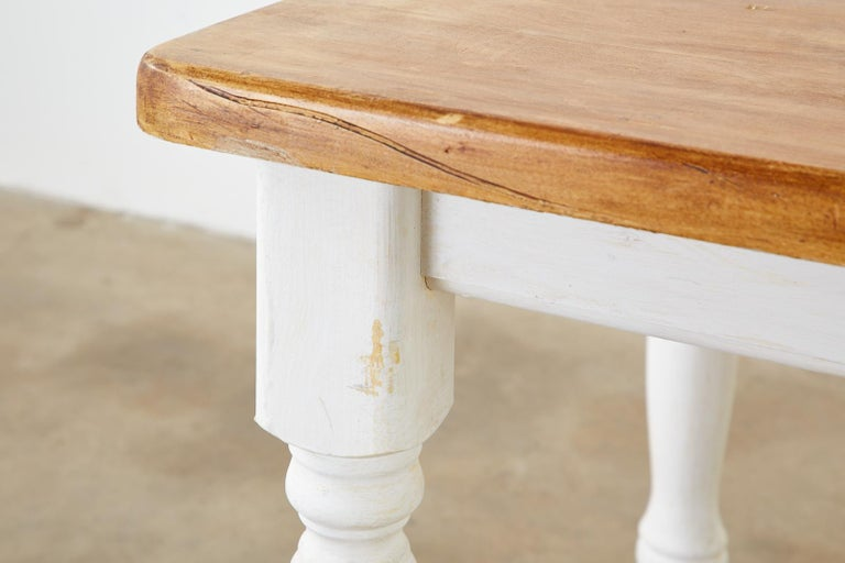 American Country Painted Pine Farmhouse Dining Table For Sale 11