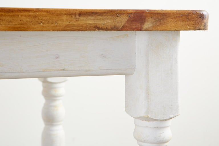 American Country Painted Pine Farmhouse Dining Table For Sale 12