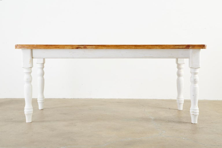 American Country Painted Pine Farmhouse Dining Table For Sale 14