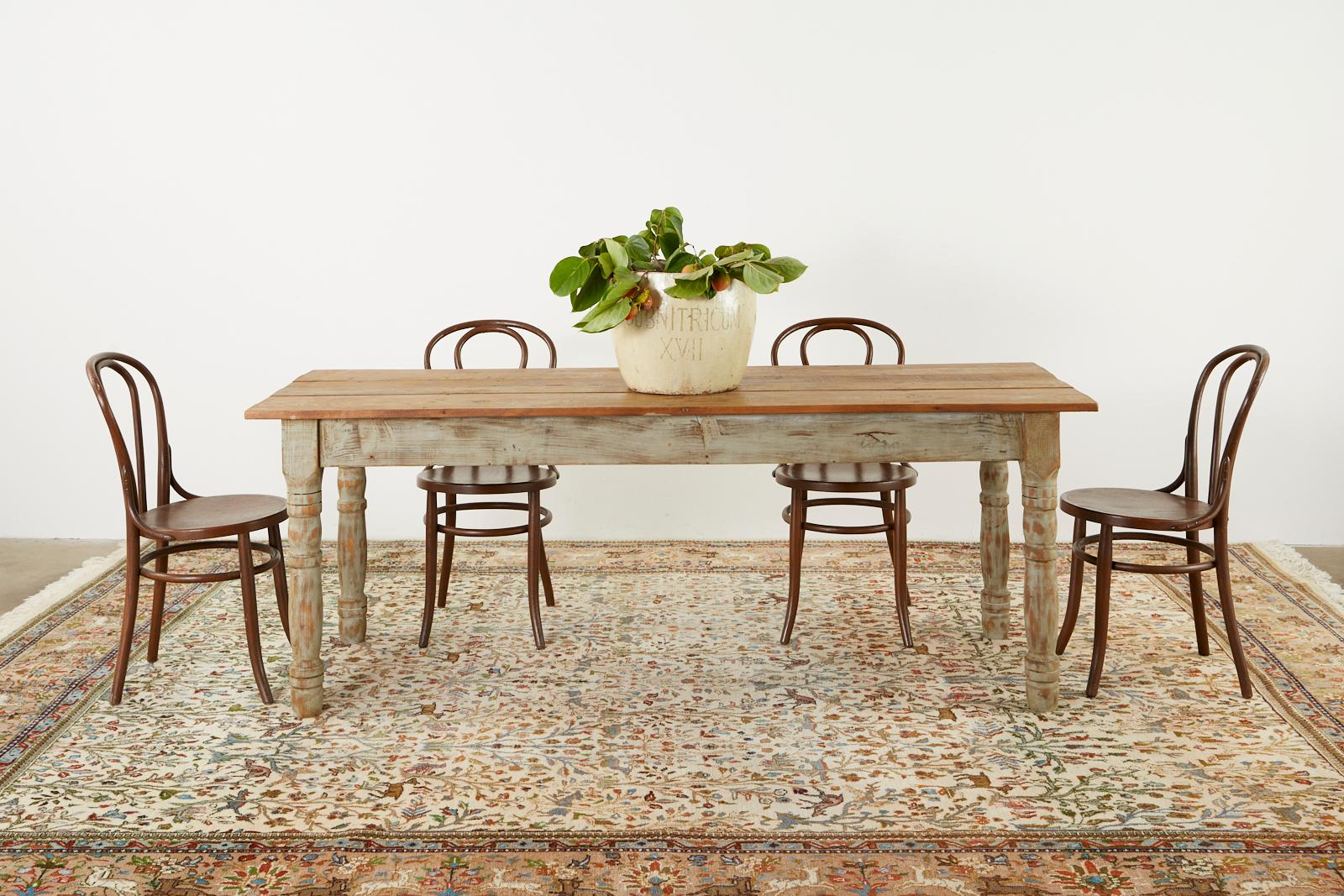American Country Painted Pine Farmhouse Dining Table For Sale At 1stdibs