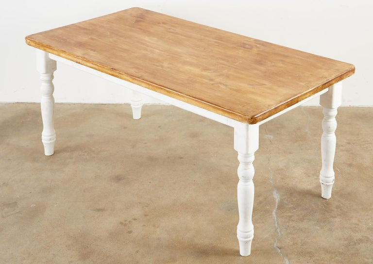 20th Century American Country Painted Pine Farmhouse Dining Table For Sale