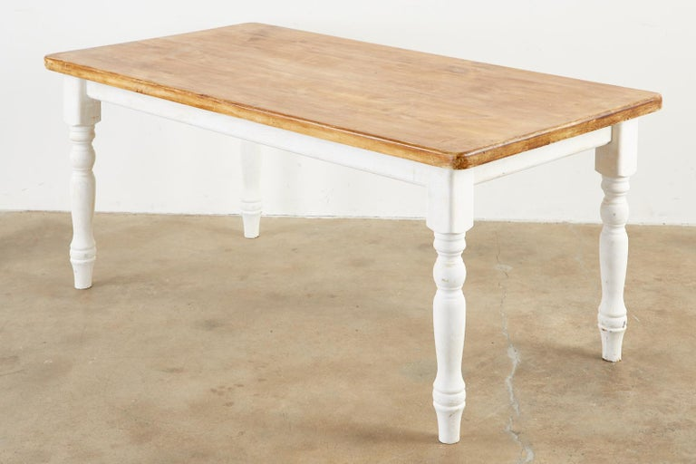 American Country Painted Pine Farmhouse Dining Table For Sale 1