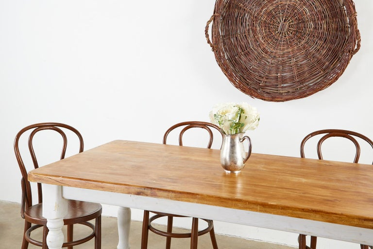 American Country Painted Pine Farmhouse Dining Table For Sale 2