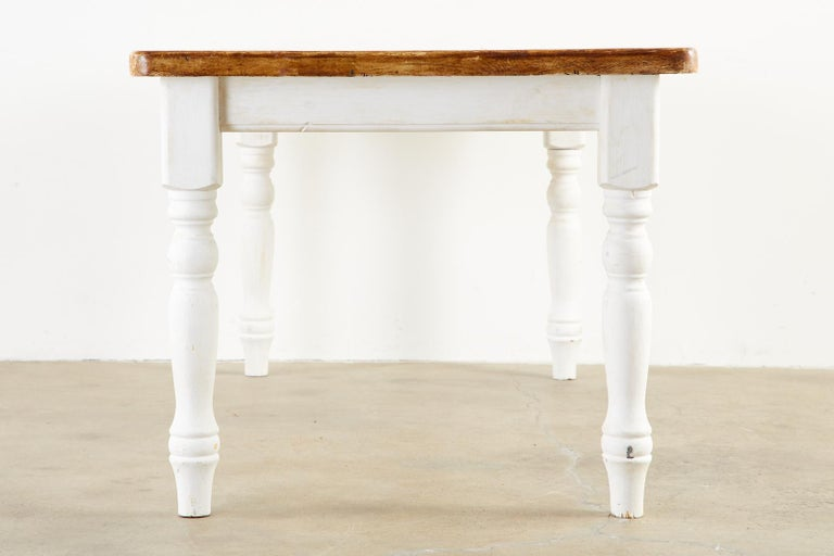 American Country Painted Pine Farmhouse Dining Table For Sale 3