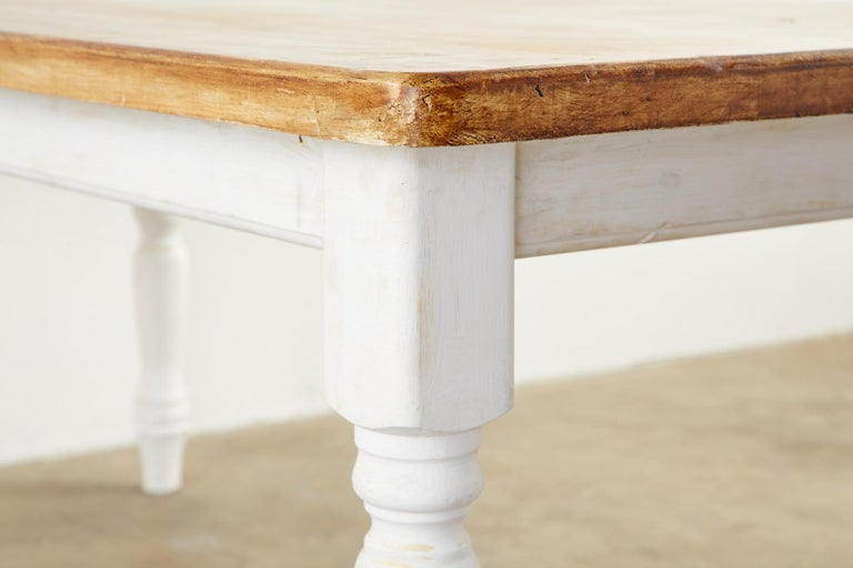 American Country Painted Pine Farmhouse Dining Table For Sale 4