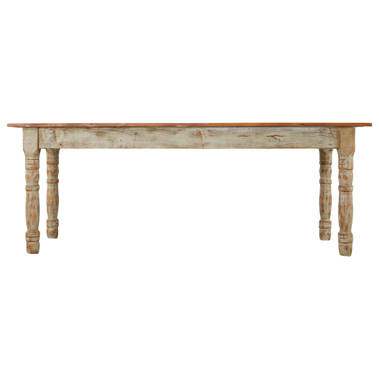 American Country Painted Pine Farmhouse Dining Table