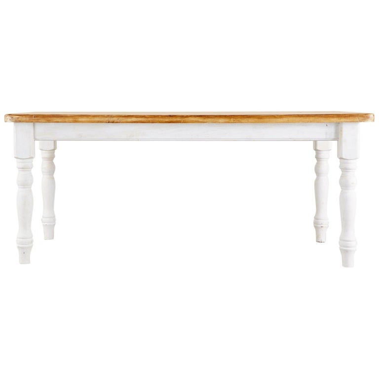 American Country Painted Pine Farmhouse Dining Table For Sale
