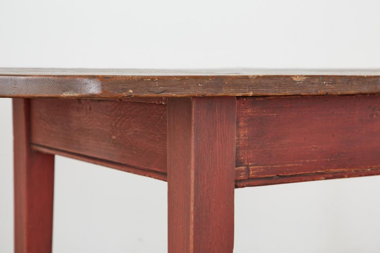 American Country Pine Farmhouse Harvest Dining Table For Sale 7
