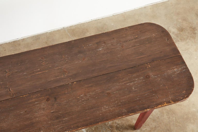 American Country Pine Farmhouse Harvest Dining Table For Sale 13