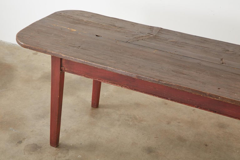 American Country Pine Farmhouse Harvest Dining Table For Sale 1