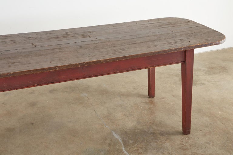 American Country Pine Farmhouse Harvest Dining Table For Sale 3