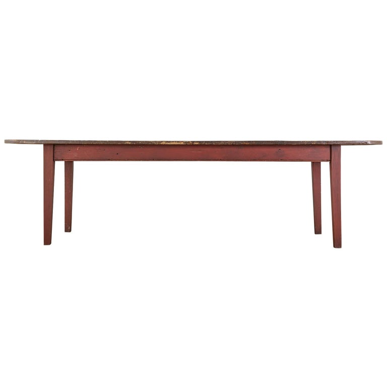 American Country Pine Farmhouse Harvest Dining Table For Sale
