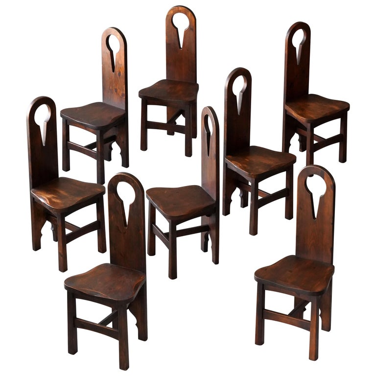 American Craft, 8 Modernist Dining Chairs, Stained Pine, Early 20th Century For Sale