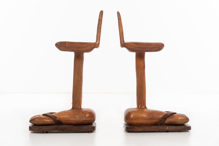 Hand-Carved American Craft Foot 'BAR' Stools For Sale