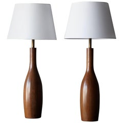 American Craft, Large Table Lamps, Solid Walnut, Brass, America, 1950s