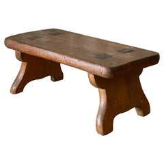 American Craft, Small Stool, Solid Oak, Pennsylvania, USA, 19th Century