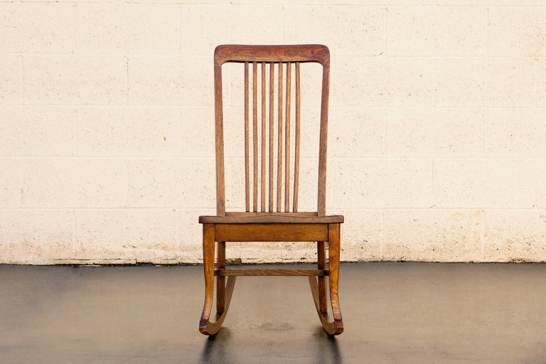 American Craftsman Child's Rocking Chair with Slat Back In Good Condition In Alhambra, CA