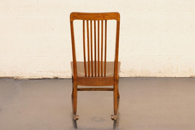 20th Century American Craftsman Child's Rocking Chair with Slat Back