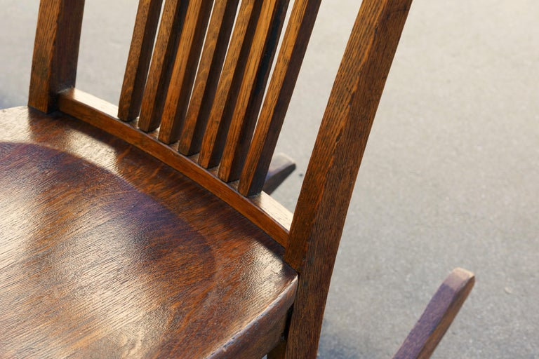 Oak American Craftsman Child's Rocking Chair with Slat Back