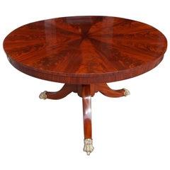 American Crotch Mahogany Pie Shaped Hinged Top Center Table, NY, Circa 1820