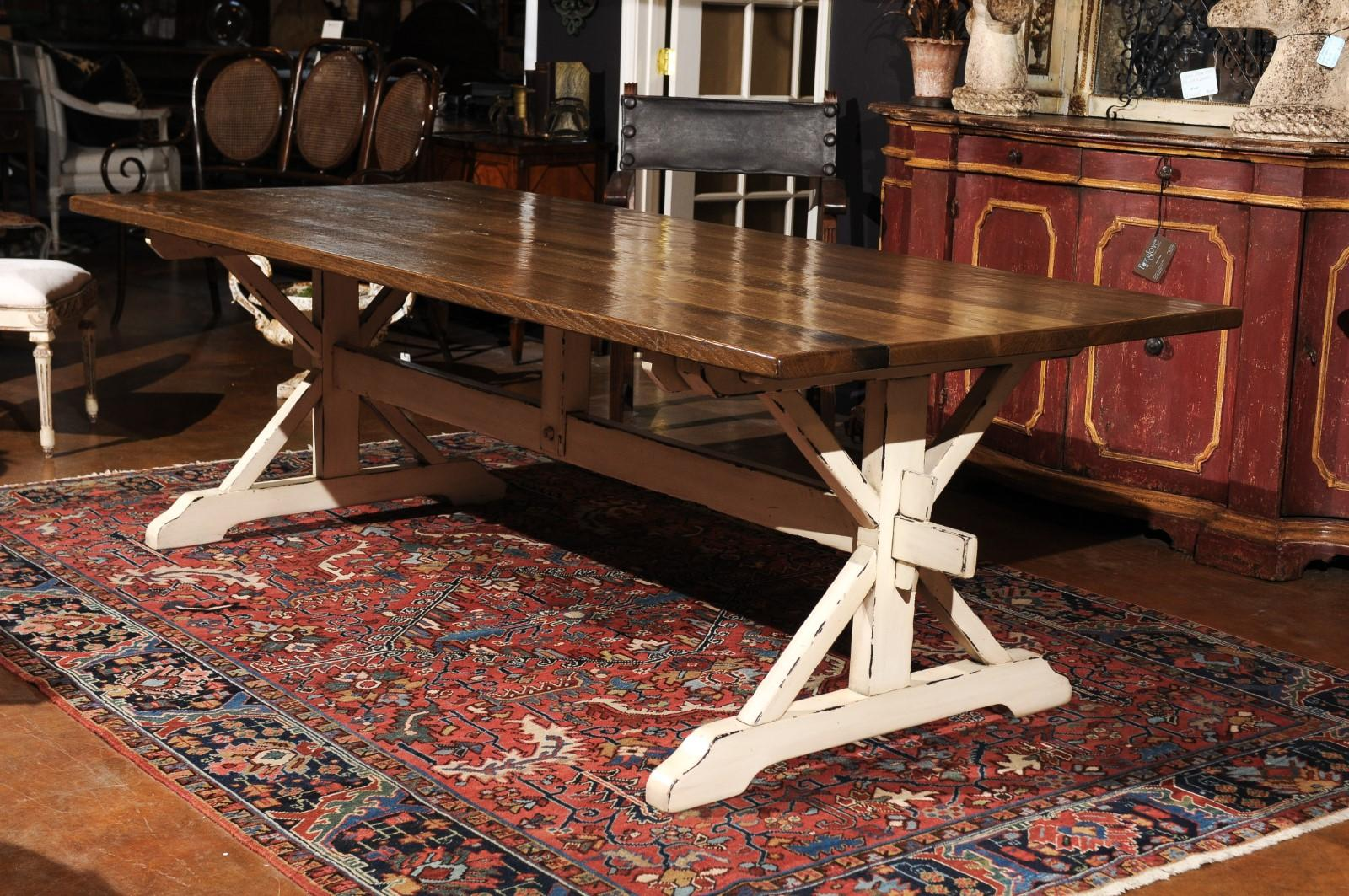 Incroyable A Contemporary Customizable American Oak Dining Table With Whitewashed  Trestle Base. This American Trestle Farm