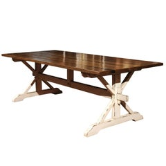 American Customizable Oak Dining Farm Table with Whitewashed Trestle Base, 2018