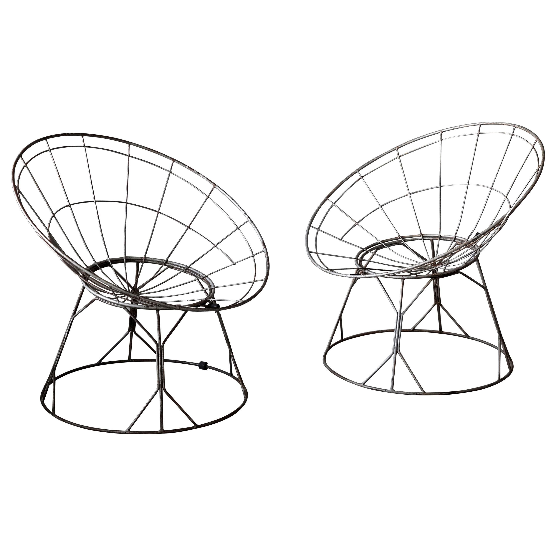American Designer, Adjustabl Lounge Chairs, Painted Steel, Rubber, America 1950s
