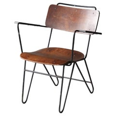 American Designer, Armchair, Moulded Plywood, Lacquered Metal, America, 1940s