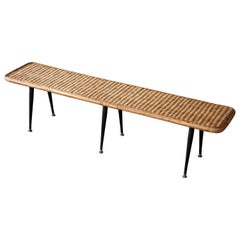 American Designer, Minimalist Bench, Woven Rattan, Bamboo, Lacquered Steel 1950s