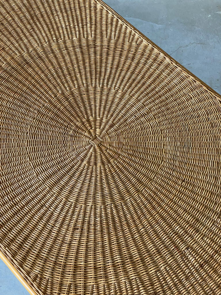 Mid-20th Century American Designer, Minimalist Dining Table, Woven Rattan, Lacquered Steel, 1950s For Sale