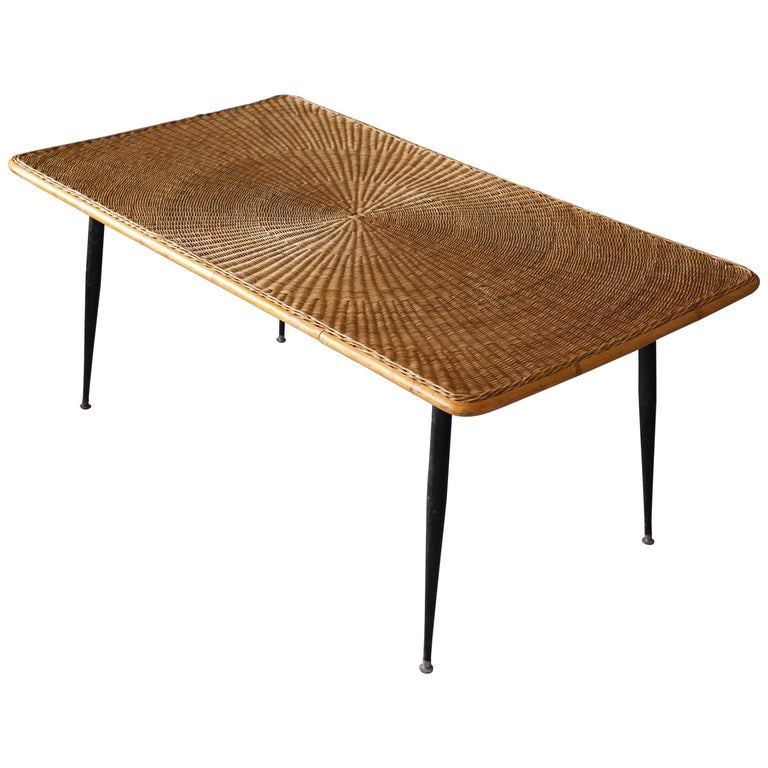 American Designer, Minimalist Dining Table, Woven Rattan, Lacquered Steel, 1950s For Sale