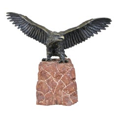 American Eagle Bronze Sculpture on Red Marble Base, Austria, circa 1900